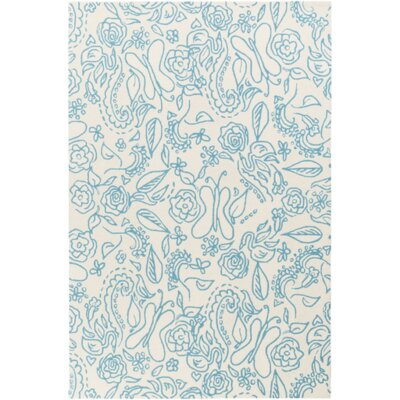 Harley Hand-Hooked Blue Area Rug Rug Size: Rectangle 5' x 7'6