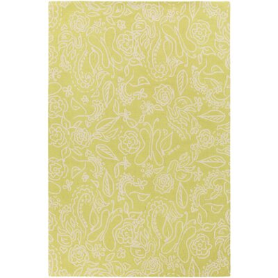 Harley Hand-Hooked Green/Neutral Area Rug Rug Size: Rectangle 76 x 96