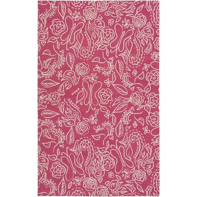 Harley Hand-Hooked Pink/Neutral Area Rug Rug Size: Rectangle 76 x 96