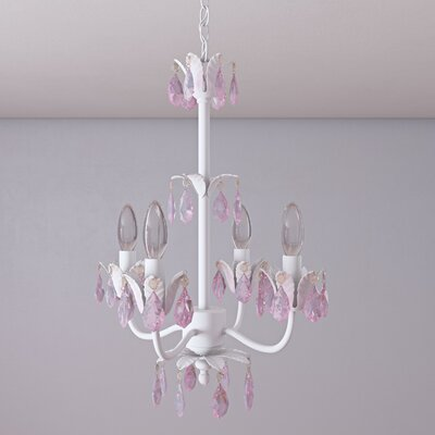 Senoia 4-Light Crystal Chandelier Crystal Color: Pink