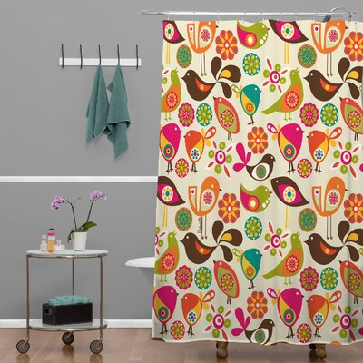 Little Birds Extra Long Shower Curtain
