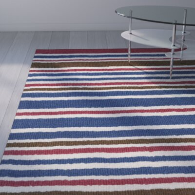 Lew Hand-Tufted Wool Blue/Red Area Rug Rug Size: Rectangle 5 x 8