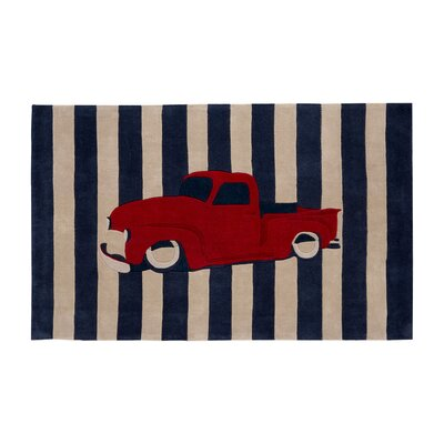 Cherish Navy/Red Stripe Area Rug Rug Size: 36 x 56