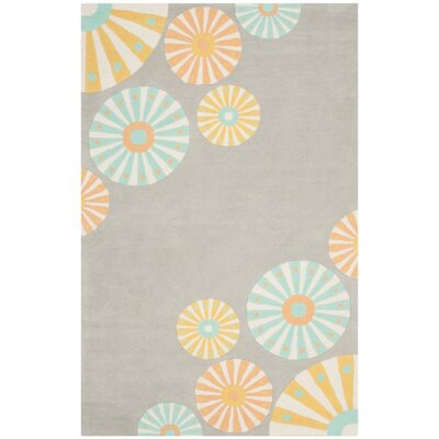 Candy Shop Tufted-Hand-Loomed Gray/Orange/Blue Area Rug Rug Size: 4 x 6