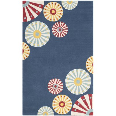 Candy Shop Tufted-Hand-Loomed Blue/Red/Yellow Area Rug Rug Size: 4 x 6