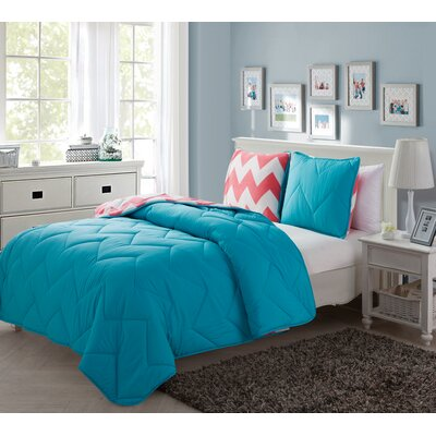 Tanisha 2 Piece Reversible Comforter Set Color: Aqua