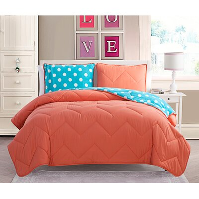 Tanisha 3 Piece Full/Double Comforter Set Color: Coral