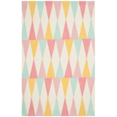 Backgammon Hand-Loomed Pink/Yellow Area Rug Rug Size: 5 x 8