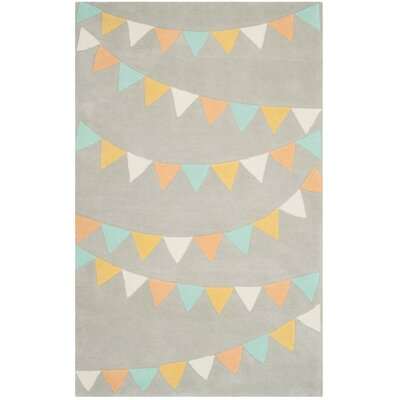 Party Time Hand-Loomed Gray Area Rug Rug Size: 4 x 6
