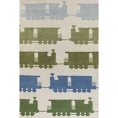 Caddy Green & Beige Train Area Rug Rug Size: Round 79