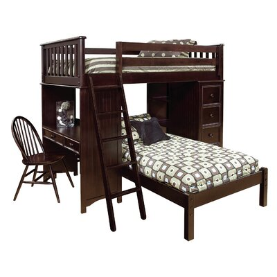 David SSS Twin Loft Bed with Lower Platform Bed Finish: Espresso