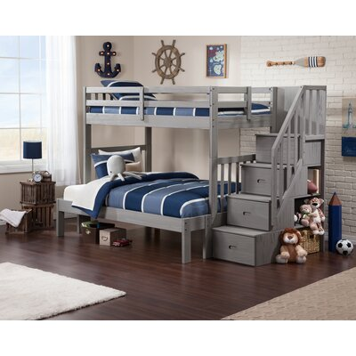 Dustin Staircase Bunk Bed with Drawers Size: Twin over Full
