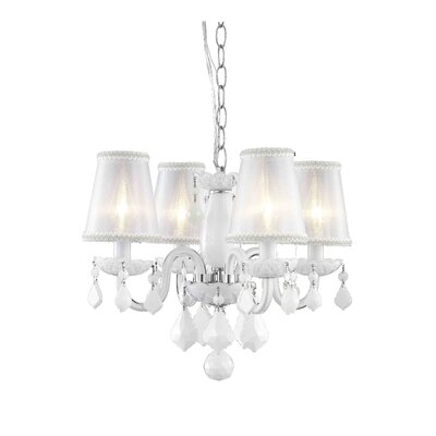 Andie  4-Light Shaded Chandelier Finish: White