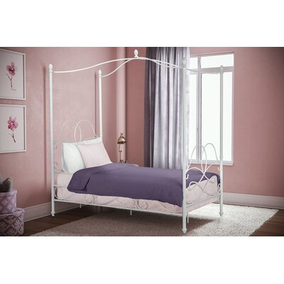 Dianna Twin Canopy Bed Color: White