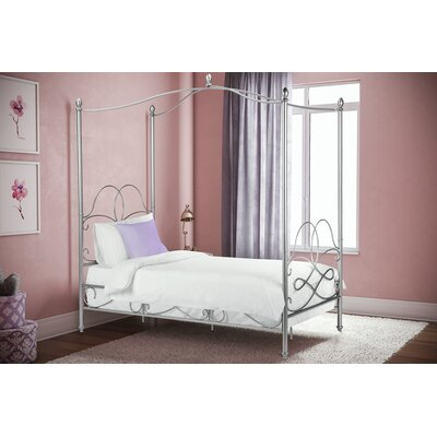 Dianna Twin Canopy Bed Color: Silver