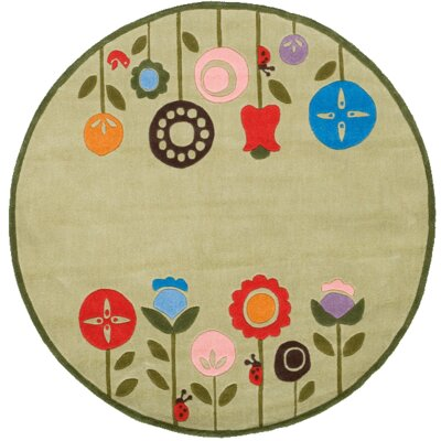 Ezekiel Hand-Tufted Light Green Kids Rug Rug Size: Round 5