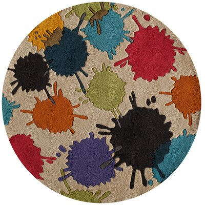 Felicia Hand-Tufted Brown/Blue Kids Rug Rug Size: Round 5
