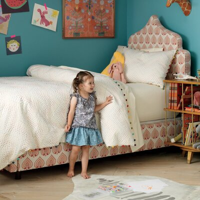 Greta Bed Size: Full, Fabric: Leda Peony Aquatint