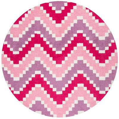 Anita Hand-Tufted Pink Area Rug Rug Size: Round 4 x 4