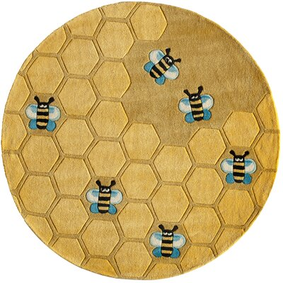 Johnnie Hand-Tufted Gold Kids Rug Rug Size: Round 5