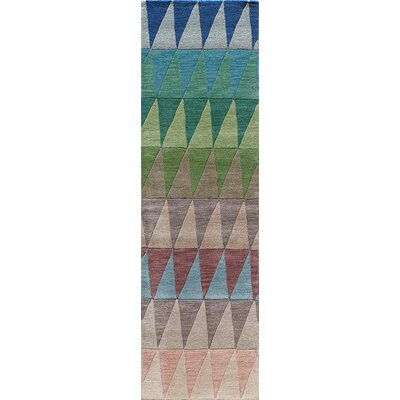 Eli Hand-Tufted Blue/Green/Yellow Kids Rug Rug Size: Runner 23 x 8