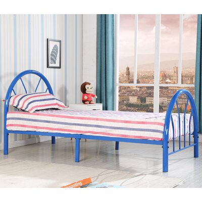 Jonathon Twin Metal Bed Upholstery: Blue
