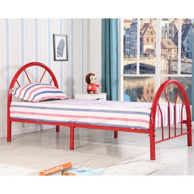 Jonathon Twin Metal Bed Upholstery: Red