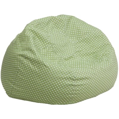Polka Dots Cotton Bean Bag Chair Upholstery: Green/White