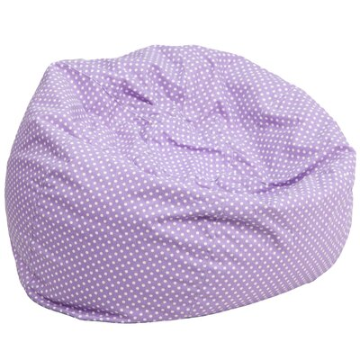 Polka Dots Cotton Bean Bag Chair Upholstery: Lavender/White