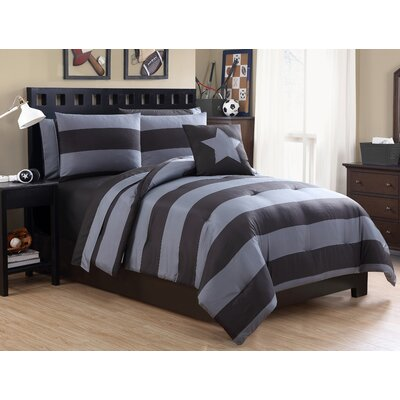 Vicky 8 Piece Full/Double Comforter Set Color: Gray/Black