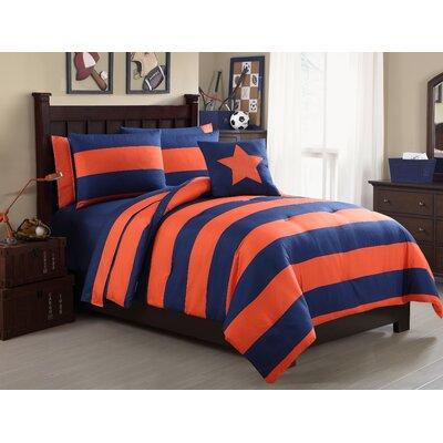 Vicky 8 Piece Full/Double Comforter Set Color: Orange/Navy