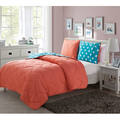 Tanisha 2 Piece Reversible Comforter Set Color: Coral
