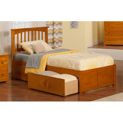 Georgia Slat Bed Size: Twin XL, Bed Frame Color: Caramel Latte