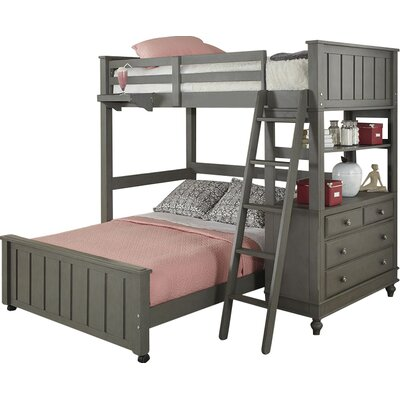 Holly Loft with Full Size Lower Bed Size: Full/Full, Color: Stone