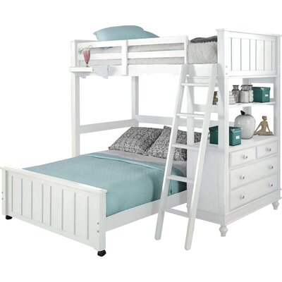 Holly Loft with Full Size Lower Bed Size: Twin/Full, Finish: White