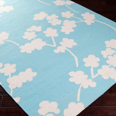 Gilda Hand-Woven Sky Blue Area Rug Rug Size: Rectangle 2 x 3