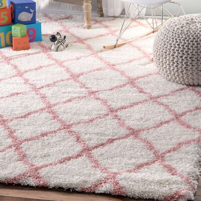 Kellie Hand-Tufted Baby Pink Area Rug Rug Size: 33 x 5