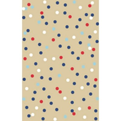 Confetti Tufted-Hand-Loomed Beige/Red Area Rug Rug Size: 5 x 8