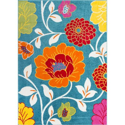 Juliet Daisy Blue Area Rug Rug Size: Rectangle 33 x 5