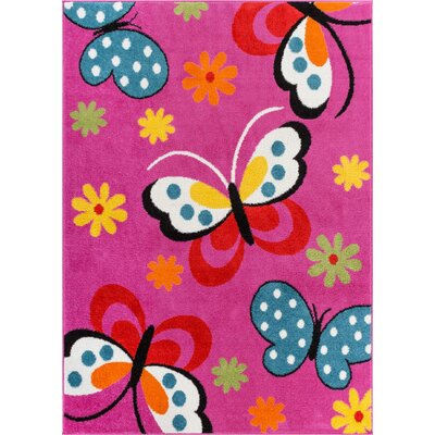 Juliet Daisy Pink Area Rug Rug Size: Rectangle 5 x 7