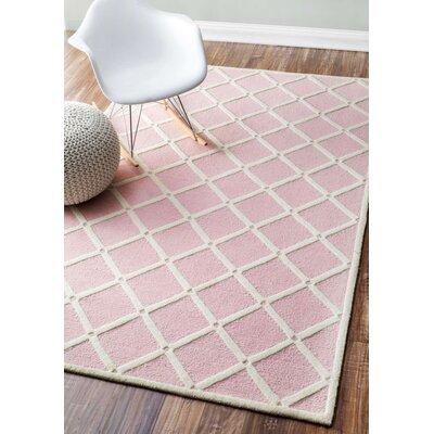 Mystro Hand-Hooked Pink Area Rug Rug Size: 3 x 5