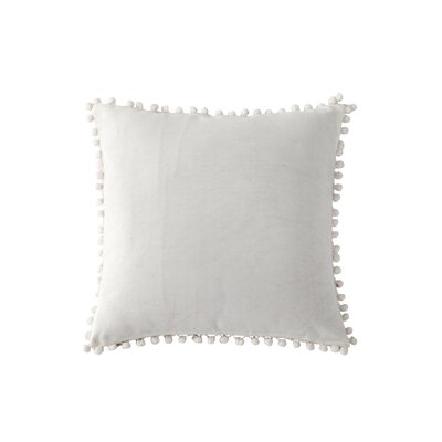 Terrence Pompom Decorative Throw Pillow Color: Snow White