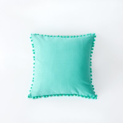 Terrence Pompom Decorative Throw Pillow Color: Bright Teal