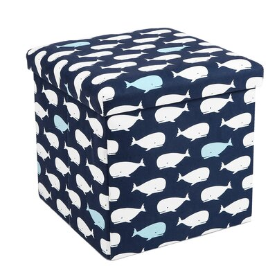 Katheryn Whale Covered Collapsible Ottoman