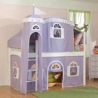 Bonneau Traditional Twin Low Loft Bed with Wood Frame Configuration: Low Loft Bed with Castle Tent