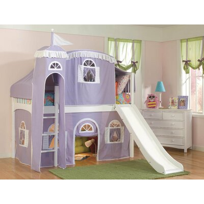 Bonneau Traditional Twin Low Loft Bed with Wood Frame Configuration: Low Loft Bed with Castle Tent and Slide