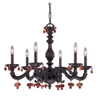 Odessa 6-Light Candle-Style Chandelier Crystal Color: Rose/Clear, Finish: Antique White