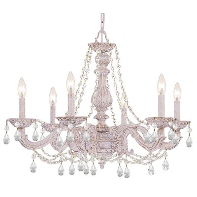 Odessa 6-Light Crystal Chandelier Crystal: Swarovski Spectra, Finish: Antique White