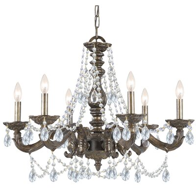 Odessa 6-Light Crystal Chandelier Crystal: Majestic Wood Polish, Finish: Venetian Bronze