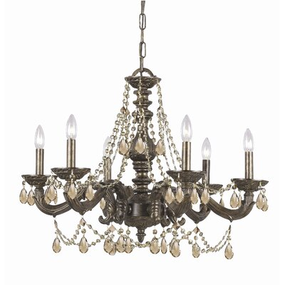 Odessa 6-Light Crystal Chandelier Crystal: Majestic Wood Polish, Finish: Antique White